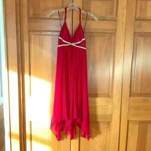Red party dress with rhinestones